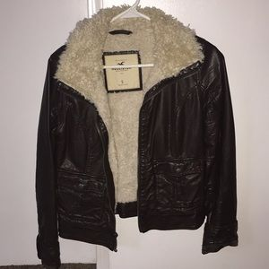 Brown Leather Hollister Jacket